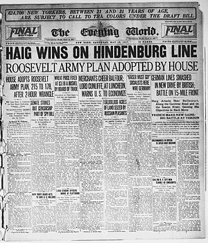 The Evening World - Front page of The Evening World, May 12, 1917