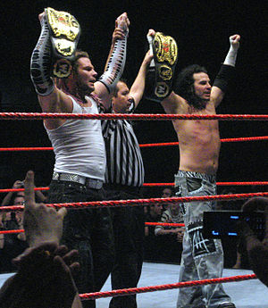 WrestleMania XXV - Brothers Jeff (left) and Matt Hardy (right), who engaged in a rivalry prior to WrestleMania