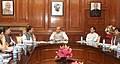 The Minister of State for Culture (Independent Charge), Tourism (Independent Charge) and Civil Aviation, Dr. Mahesh Sharma discussing the Tourist Visa on Arrival facility with the Union Home Minister, Shri Rajnath Singh.jpg