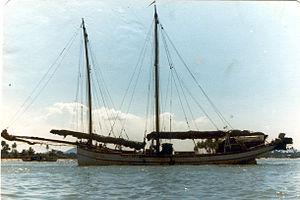 Pinas (ship) - The pinas Sabar, (87' LOD), the last original sailing pinas of Kuala Terengganu, 1980