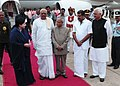 The President, Shri Pranab Mukherjee with the Governor of Tamil Nadu, the Chief Minister of Tamil Nadu, Dr. J. Jayalalithaa on his arrival, at Chennai airport .jpg