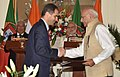 The Prime Minister, Shri Narendra Modi and the Prime Minister of Portuguese Republic, Mr. Antonio Costa witnessing the exchange of agreements between India and Portugal, at Hyderabad House, in New Delhi on January 07, 2017.jpg