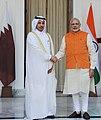The Prime Minister, Shri Narendra Modi with the Prime Minister of Qatar, Sheikh Abdullah bin Nasser bin Khalifa Al Thani, at Hyderabad House, in New Delhi on December 03, 2016 (1).jpg