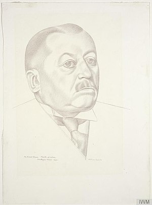 United Kingdom general election, 1945 - Image: The Rt. Hon Ernest Brown Minister of Labour and National Service, 1939 1940 (Art.IWM ART LD 153)