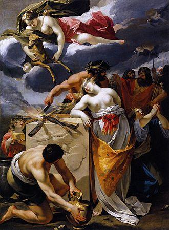 Iphigenia - François Perrier's The Sacrifice of Iphigenia (17th century), depicting Agamemnon's sacrifice of his daughter Iphigenia