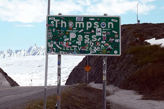 The Valdez bound Thompson Pass sign, as seen in May 2016. The Valdez bound Thompson Pass sign, as seen in May16..jpg