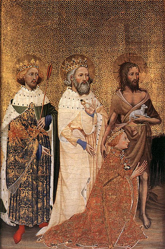 1300–1400 in European fashion - The young Richard II of England, kneeling, wears a Houppelande of silk brocade with the badge of his livery.  St John the Baptist wears his iconographical clothes, but the sainted English kings Edward the Confessor and Edmund the Martyr are in contemporary royal dress. The Wilton Diptych 1395–99