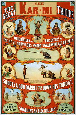 Sword swallowing - Image: The great Victorina Troupe