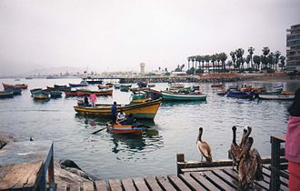 Ancón District - Image: The harbour at Ancon Peru. Pelicans gather hopefully as the fish catch is gutted