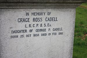 Grace Cadell - The inscription to Grace Cadell, Morningside Cemetery, Edinburgh