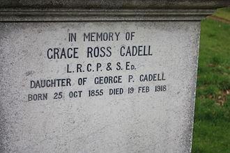 Grace Cadell - The inscription to Grace Cadell, Morningside Cemetery, Edinburgh