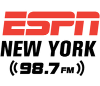 The logo of ESPN New York, 98.7 FM.