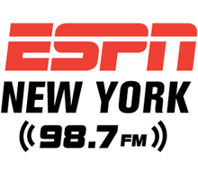 The logo of ESPN New York, 98.7 FM.png