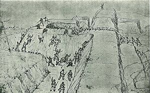 Charles Heaphy - Naval attack at Rangiriri, 1863, a pen sketch by Heaphy
