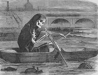 "Great Stink - ""The Silent Highwayman"" (1858). Death rows on the Thames, claiming the lives of victims who have not paid to have the river cleaned up."