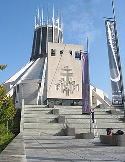 The steps leading up to the main entrance of the Metropolitan Cathedral - geograph.org.uk - 1206795.jpg