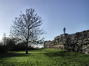 Calleva Atrebatum - A 180 cm figure standing on the exposed remaining wall