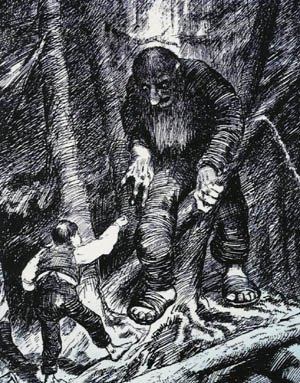 Youngest son - The youngest son hero of Boots Who Ate a Match With the Troll confronts a troll. (Illustration by Theodor Kittelsen)