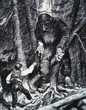 Youngest son - The youngest son hero of The Boy Who Had an Eating Match with a Troll confronts the troll. (Illustration by Theodor Kittelsen)