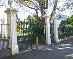 The gateway and gates which were erected at about 1769 as part of the Drostdy at that time, are situated on the most historic site in Stellenbosch. This site has associations with Simon van der Stel and the respective Drostdy buildings were formerly also situated here until, in 1859, they became the seat of the Theological Seminary.