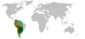 Cette carte montrant l extension théorique de l empire espagnol dans les années 1650 illustre le méridien défini lors du traité de Tordesillas; à l est se trouve la zone terrestre dévolue à l empire colonial portugais (carte).   En marron, le vice-royaume du Pérou.