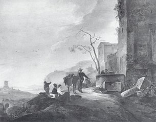 Italian Landscape with Figures at a Fountain among Antique Ruins