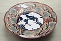 Three-legged Dish with lotus and heron design, Imari ware, Edo period, 17th century, celadon and lapis lazuli glaze - Tokyo National Museum - DSC06034.JPG