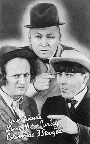 The Three Stooges - The Three Stooges in 1936  (from clockwise left; Larry Fine, Curly Howard, and Moe Howard)