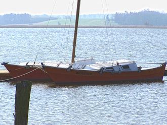 James Wharram - Tiki 26, Wharram self built catamaran at Usedom