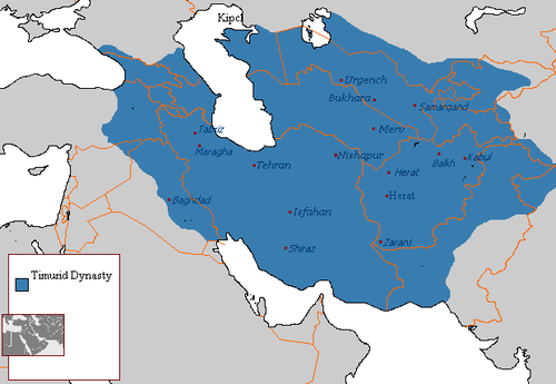 A map of the Timurid Empire. Timurid Dynasty 821 - 873 (AH).png