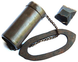 Tinderbox - Pocket tinderbox with firesteel and flint, this type was used during the Boer War due to a scarcity of matches