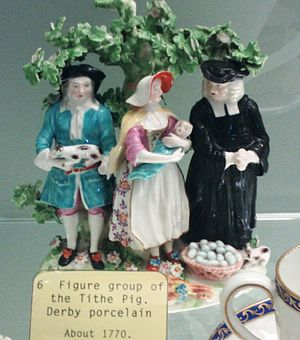Tithe - The Tithe Pig, group in Derby Porcelain, c. 1770