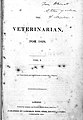 Title page of 'The Veterinarian', volume I, 1828. Wellcome L0000442.jpg