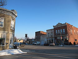Looking East in downtown Tontogany, Ohio from Main and Broad streets toward the railroad intersection.