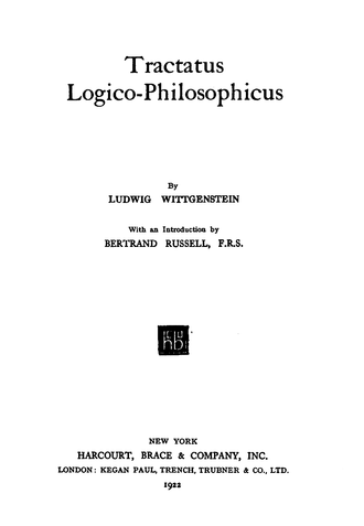 Tractatus Logico-Philosophicus - Title page of first English-language edition, 1922