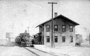 Harpers Ferry, Iowa - Train depot in Harpers Ferry, circa 1913