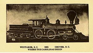 Grover, North Carolina - A train engine in Grover ready to spin on the turn-table circa 1885 - antique postcard