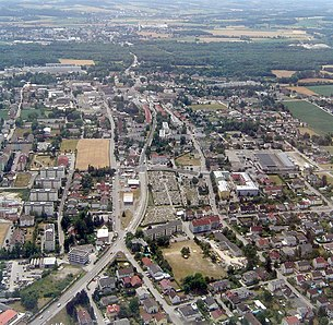 Aerial view of the city center