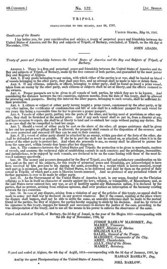 Treaty of Tripoli - The Treaty of Tripoli as presented to Congress