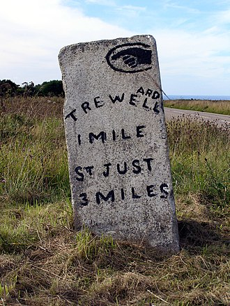 Trewellard - Milestone on the B3318 pointing towards Trewellard