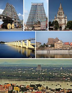 Montage image showing a temple tower with pyramidal structure and its wooden chariot in the foreground, a temple tower, a church tower, Rockfort, Kaveri river separating two neighbourhoods and a dam across Kaveri