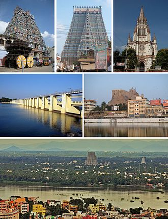 Tiruchirappalli - Clockwise from top: Rockfort Ganesh Temple, Jambukeswarar Temple, Sri Ranganathar swamy Temple, Our Lady of Lourdes Church, Kaveri river separating Tiruchirappalli from the Srirangam Island, Mukkombu  (Upper Anaicut)