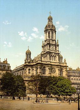 Eglise de la Sainte-Trinite, Paris, where Bizet's funeral service was held on 5 June 1875 Trinity Church Paris France.jpg