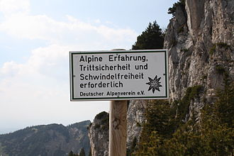Sure-footedness - Sign in German stating that sure-footedness (Trittsicherheit) is needed on this hiking trail