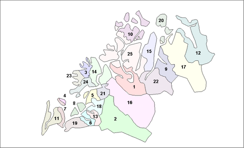 Location of Troms Municipalities