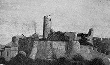 Old grainy photograph of a castle