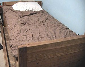 Trundle bed - A trundle bed. The lower bed has no box-spring.
