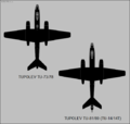 Tupolev Tu-73-Tu-78 and Tu-81-Tu-89 (Tu-14) top-view silhouettes.png