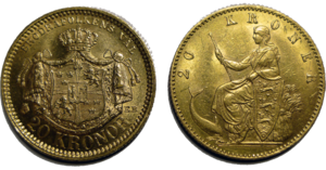 Gold standard - Two golden 20 kr coins from the Scandinavian Monetary Union, which was based on a gold standard. The coin to the left is Swedish and the right one is Danish.