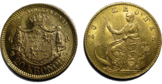 Numismatics - Two 20 kr gold coins from the Scandinavian Monetary Union.